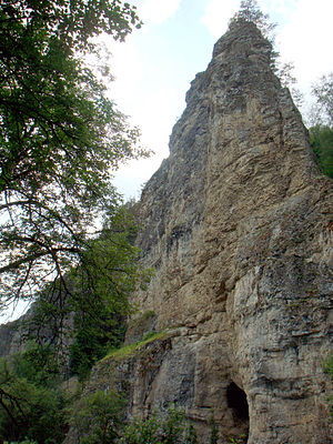 Ishimbaysky District - The Kalim-uskan Rock with the Salavat Yulayev Cave is a natural monument located in Ishimbaysky District