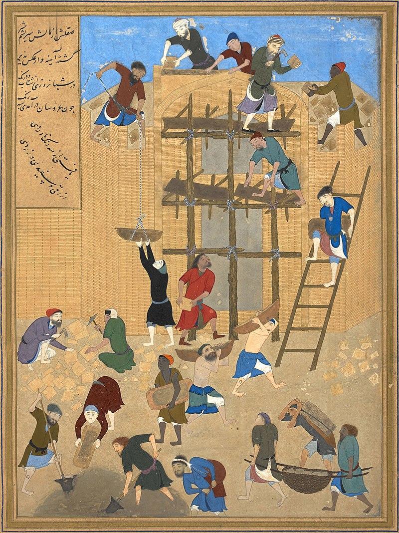 Kamal-ud-din Bihzad - Construction of the fort of Kharnaq.jpg