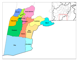 Districts of Kandahar. Panjwai is shown in dar...