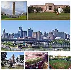 Frae tap left: the Liberty Memorial, the Nelson-Atkins Museum o Airt, the Kansas City skyline, the Kintra Club Plaza, Arraeheid Stadium, an Kauffman Stadium