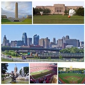Do topo, da esquerda para a direita: Liberty Memorial, Museu de Arte Nelson-Atkins, panorama de Kansas City, Country Club Plaza, Arrowhead Stadium e Kauffman Stadium