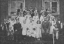 Karol Wojtyła as a priest in Niegowić, Poland, 1948