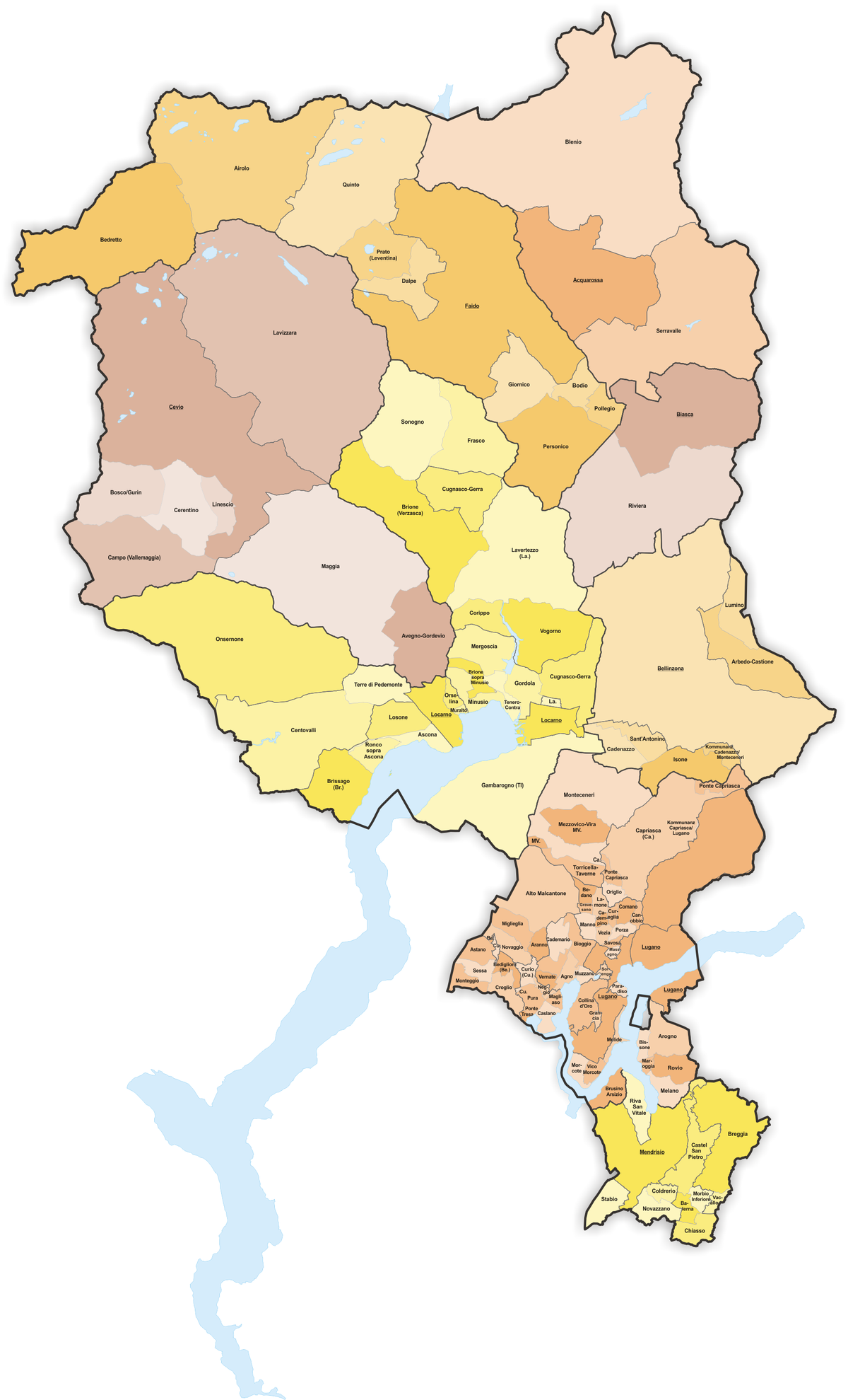 Municipalities of the canton of Ticino Wikipedia