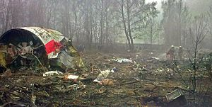 2010 Polish Air Force Tu-154 crash - Wreckage from the Tu-154 at the crash site