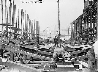 USS New York (BB-34) - Day after keel ceremony, 12 September 1911