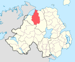 Location of Keenaght, County Londonderry, Northern Ireland.
