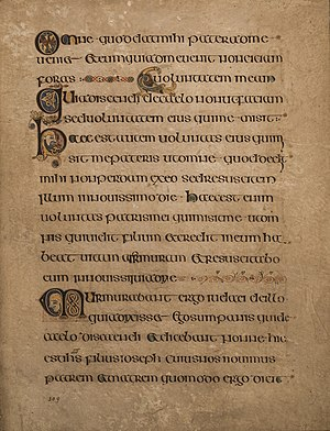 "Uncial script - The Book of Kells, c. AD 800, is lettered in a script known as ""insular majuscule"", a variety of uncial script that originated in Ireland."