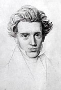 Head and shoulders sketch portrait of Søren Kierkegaard in his twenties, which emphasizes the face, full hair, open eyes forward, with a hint of a smile. His attire is formal, with a necktie and lapel.