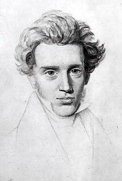 27-vuotiaasta Søren Kierkegaardista tehty piirros.