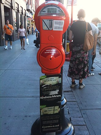 Begging - A kindness meter in downtown Ottawa, Ontario, Canada. The meter accepts donations for charitable efforts to help the poor as part of an official effort to discourage panhandling.