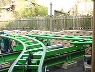 Green switch tracks at bottom of ride