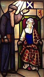 John Knox admonishing Mary Queen of Scots. Stained glass window in Covenant Presbyterian Church, Long Beach, California, USA.