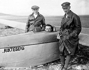 "Sergei Korolev - Korolev sitting in the cockpit of glider ""Koktebel."""