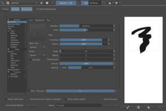 Krita - Controls of one of Krita's many brush engines