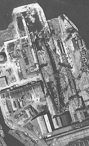 Kronshtadt-class battlecruiser - Luftwaffe aerial reconnaissance photo of Kronstadt under construction, 1 June 1942