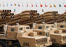 نضام المدفعية الصاروخية سميرتش الاقوى عالميا (لحد الان) 220px-Kuwait_BM-30_Smerch_launchers%2C_2011