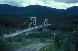 Liard River - Liard River Suspension Bridge, built in 1944 on the Alaska Highway