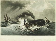 Painting of small, flame-engulfed boat with men clinging to wreckage next to spouting whale, with second small boat and larger three-masted ship in background