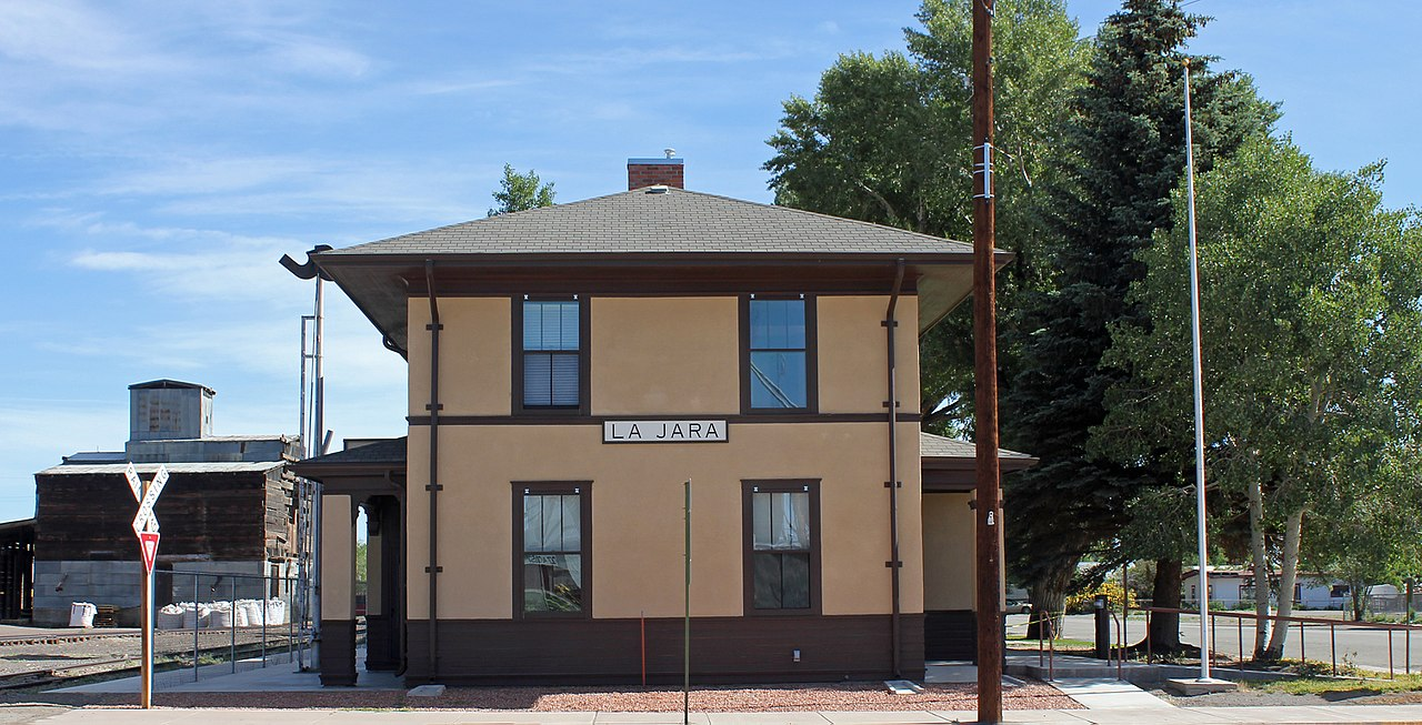The old La Jara railroad depot, now the town hall