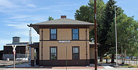 The old La Jara railroad depot, now the town hall.