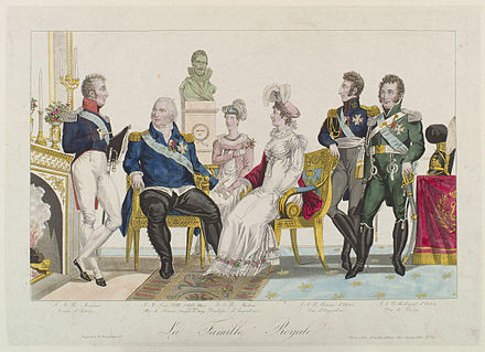 The Royal Family. From left to right: Charles, Count of Artois, Louis XVIII, Marie Caroline, Duchesse of Berry, Marie Therese, Duchesse of Angouleme, Louis Antoine, Duke of Angouleme and Charles Ferdinand, Duke of Berry. La famille royale by Gautier.jpg