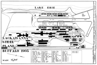 Steel mill - Plan of the Bethlehem Steel plant in Buffalo, New York ca. 1903, showing the various elements of an integrated steel mill