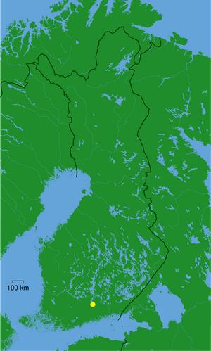 Vesijärvi - Location in Finland (yellow dot)
