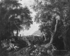 Landscape with a Hunting Party and an Overturned Wagon