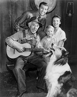 George Chandler - From Lassie (1954 TV series), clockwise from top: Jon Shepodd, Cloris Leachman, Jon Provost, and George Chandler (1957)