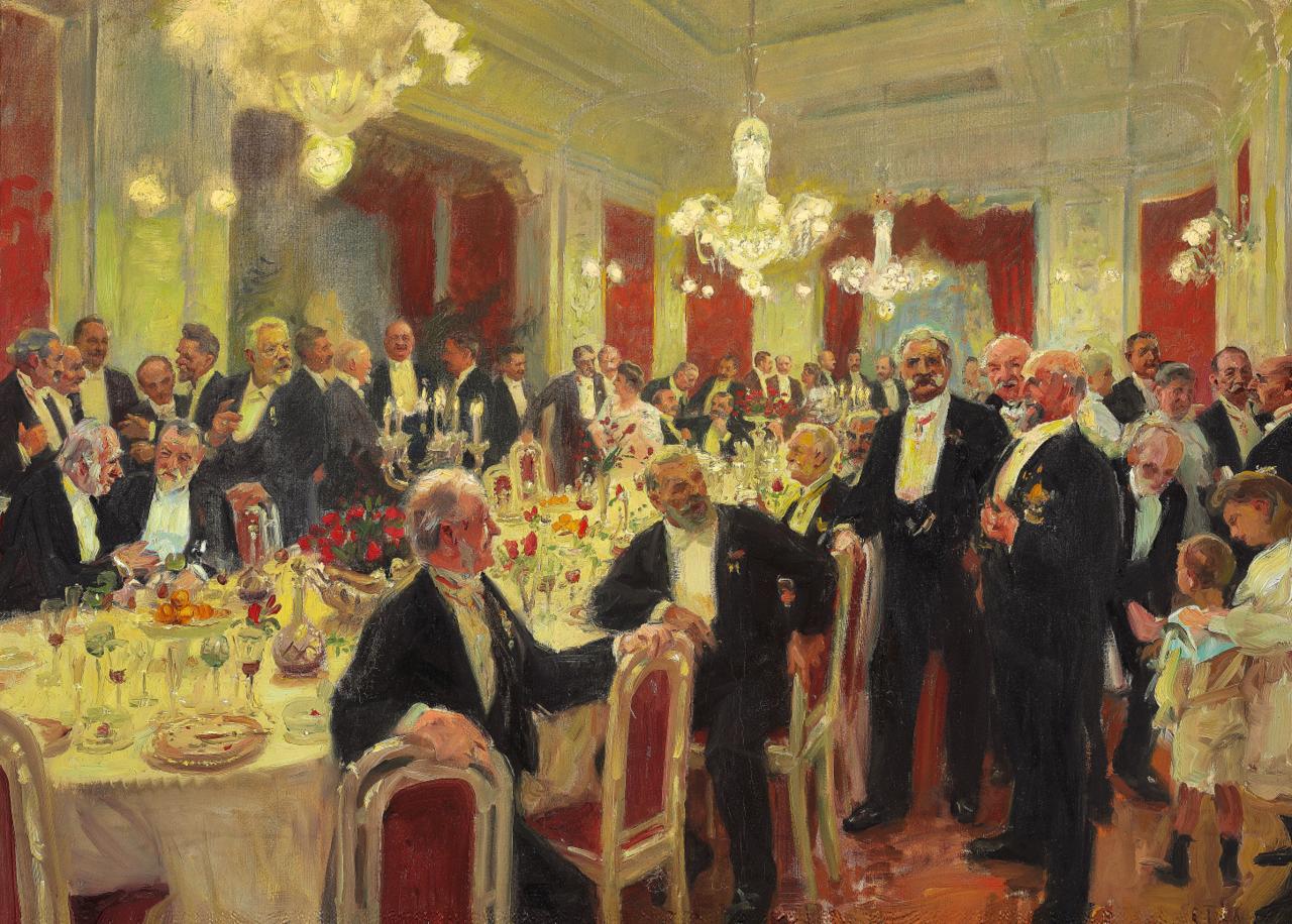Laurits Tuxen - Man rejser sig fra bordet - 1906 (forstudie).png