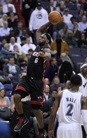 LeBron James - James attempts a slam dunk in March 2011 as a member of the Miami Heat.