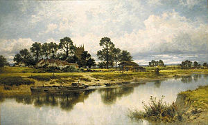 Kempsey, Worcestershire - Severn Side, Sabrina's Stream at Kempsey on the River Severn, by B.W.Leader