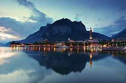 Lecco town after sunset, Lombardy, Italy.jpg
