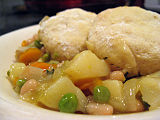 leek-and-bean cassoulet with dumplings