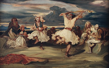The Albanian Dancer (1835) by French artist Alexandre-Gabriel Decamps; the dancers are depicted wearing the fustanella, the national costume of Albania