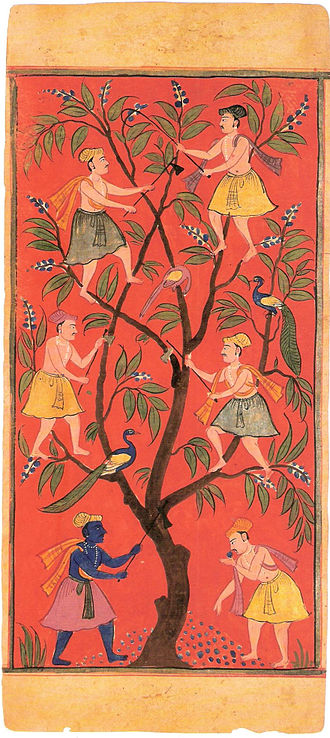 Karma in Jainism - The common representation of the mango tree and men analogy of the lesyas.