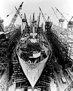 Liberty ship construction 11 prepared for launch