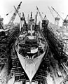 Liberty ship construction 11 prepared for launch.jpg