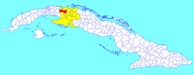 Limonar municipality (red) within  Matanzas Province (yellow) and Cuba