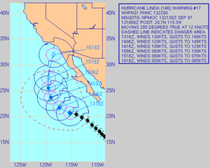 Hurricane Linda (1997) - Forecast track of Linda on September 13 showing a path toward southern California