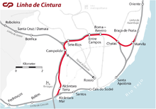 Map of the Cintura line