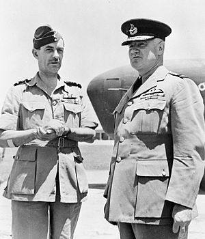 Francis John Linnell - Air Marshal Linnell (left) meets Alfred Critchley (right), the newly appointed Director-General of British Overseas Airways Corporation at an airfield in the Middle East, 1943