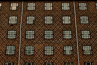 Povl Baumann - Brick work of the Linoleum House, so nicknamed because the pattern resembles an old-fashioned linoleum floor