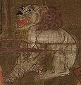 Lion detail, Kshitigarbha with the Ten Kings of Hell. From Dunhuang. Late 9th - early 10th century AD, British Museum (cropped).jpg