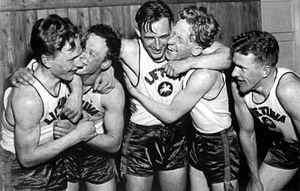 Lithuania men's national basketball team - Lithuanians after defeating Italy in 1937