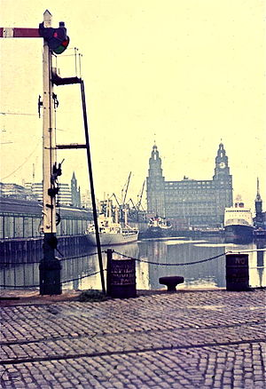 Liverpool Riverside railway station - 1972 view of branch-line with MV Ulster Queen and the Liver Building in the background.