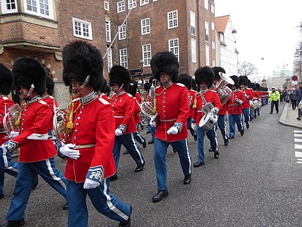 The Royal Life Guards Music Band, the seniormost military band in Danish Defence. Livgarden pa Rosenborggade 02.jpg
