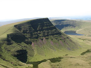 Fforest Fawr Geopark - Llyn y Fan Fach lake below Picws Du with the prominent escarpment