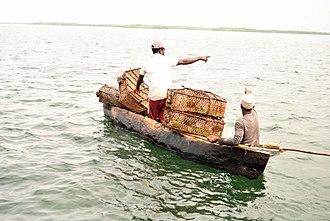 Fishing basket - Local fishers in Kenya using the traditional basket trap