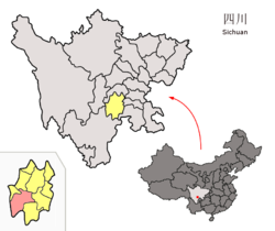 Location of the county (red) in Leshan City (yellow) and Sichuan province